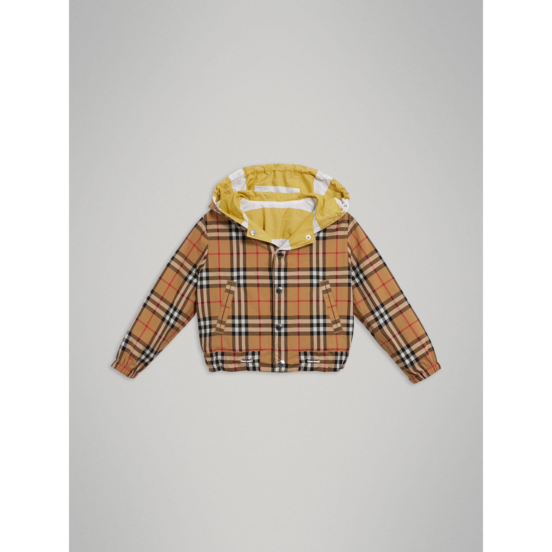 Reversible Stripe and Vintage Check Cotton Jacket in Larch Yellow/whte | Burberry - gallery image 5