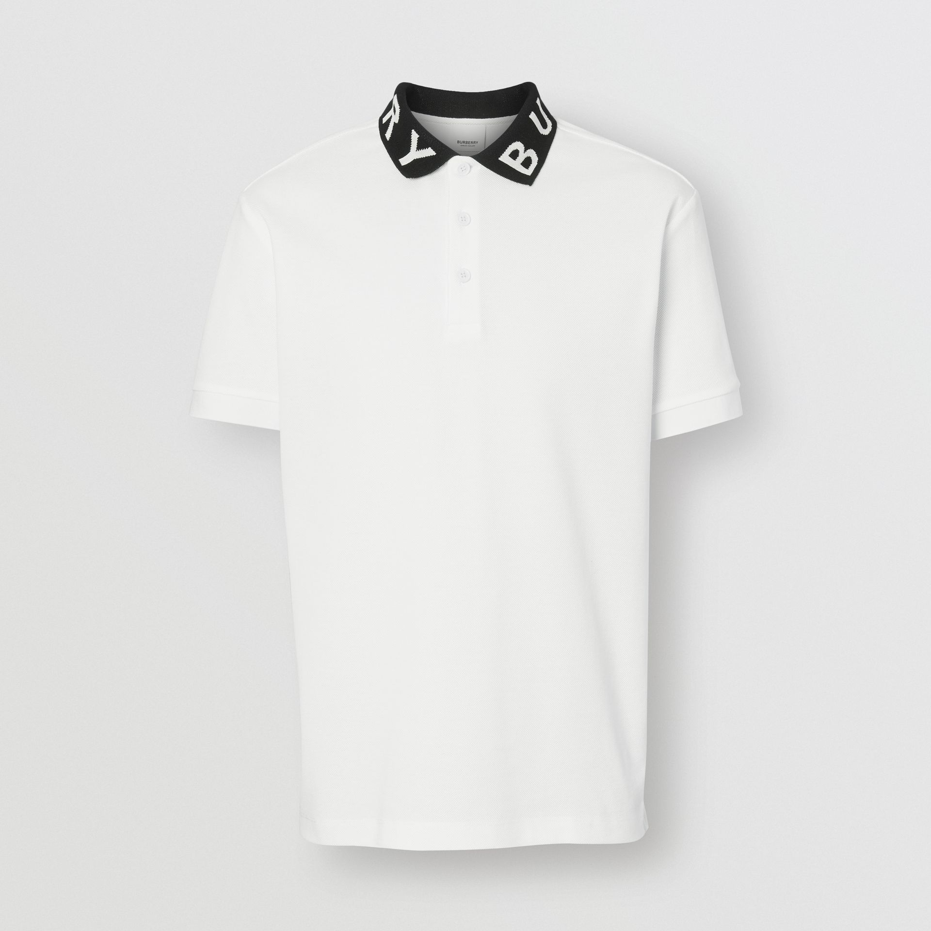 Logo Intarsia Cotton Piqué Polo Shirt in White - Men | Burberry - gallery image 3