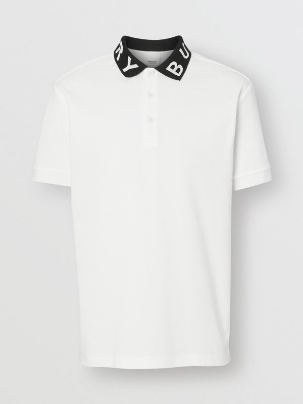 Logo Intarsia Cotton Piqué Polo Shirt in White - Men | Burberry - cell image 3