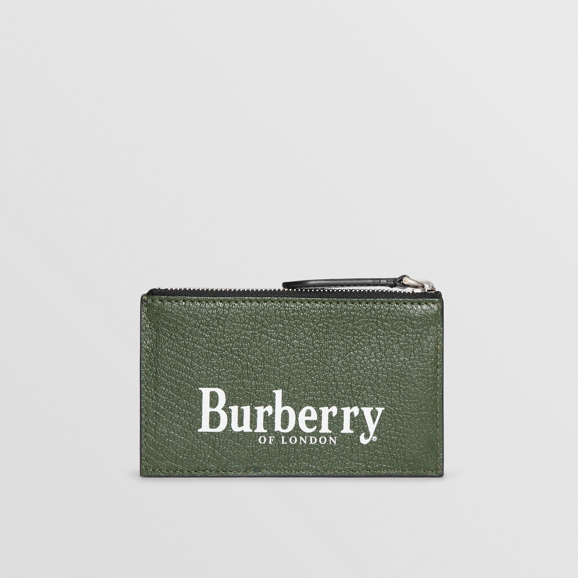 Logo Print Leather Zip Card Case in Storm Blue - Men | Burberry Australia - gallery image 2