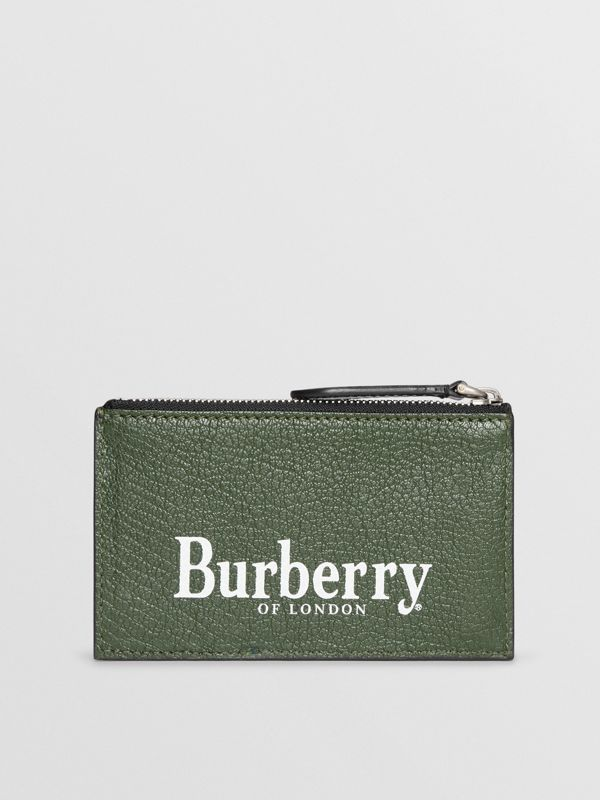 Logo Print Leather Zip Card Case in Storm Blue - Men | Burberry - cell image 2