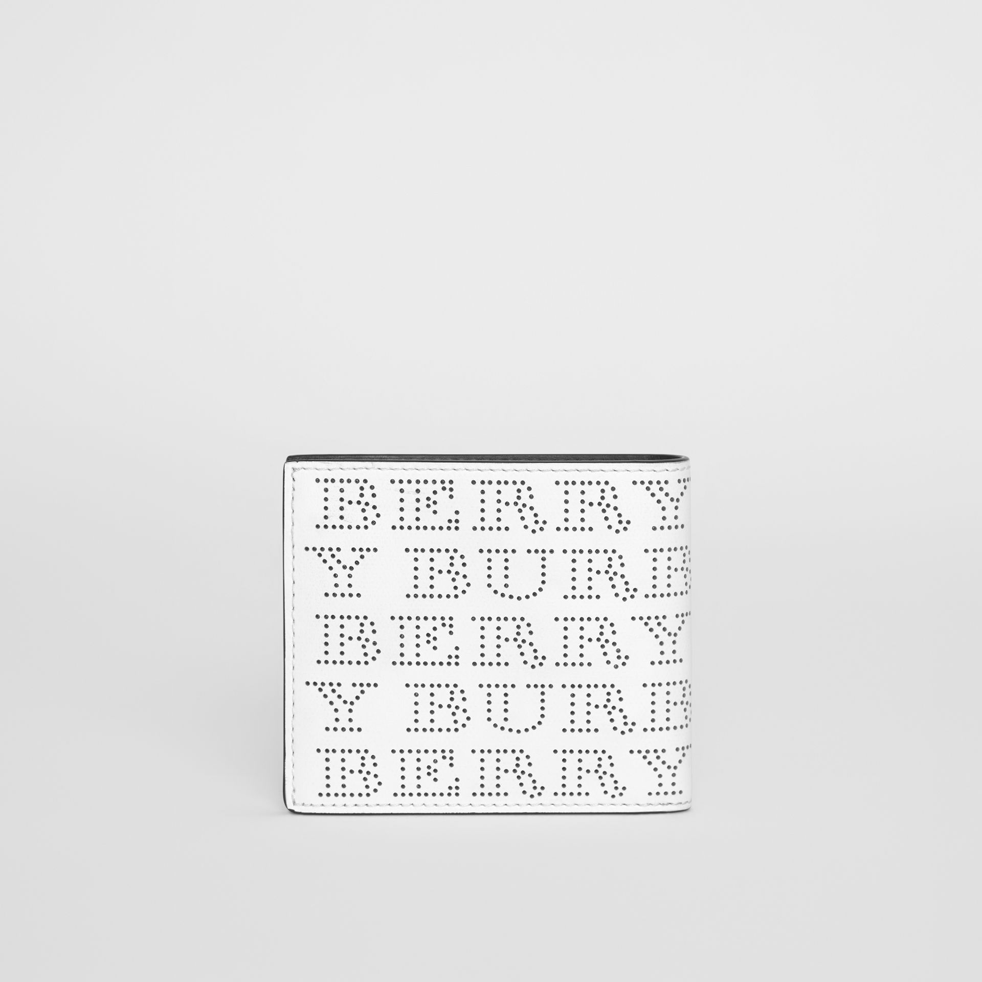 Perforated Logo Leather International Bifold Wallet in Optic White - Men | Burberry Australia - gallery image 4