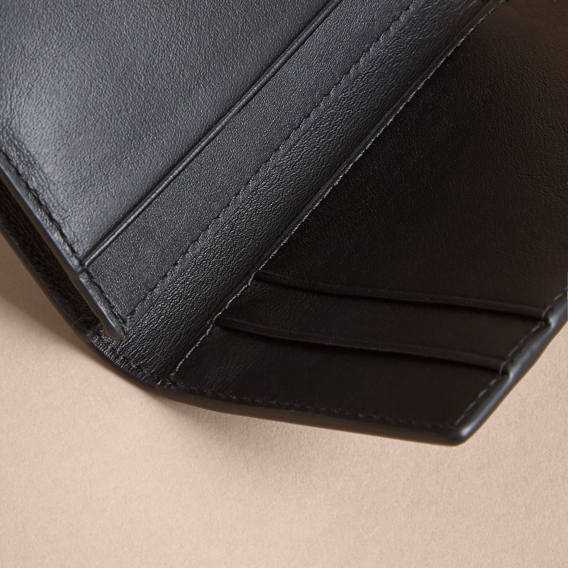 London Check and Leather Folding Card Case in Navy/black - Men | Burberry - gallery image 3