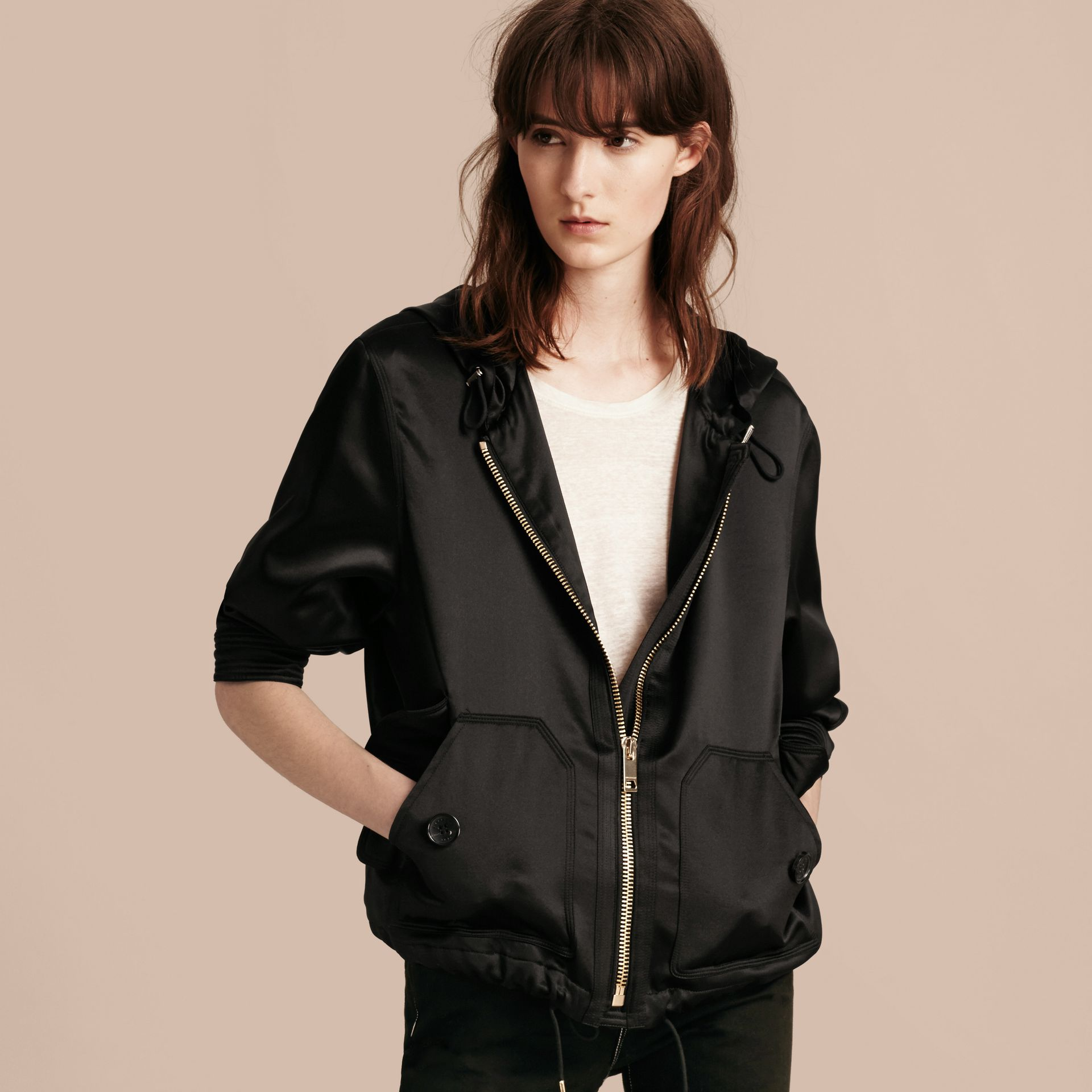 Black Silk Satin Hooded Jacket - gallery image 7