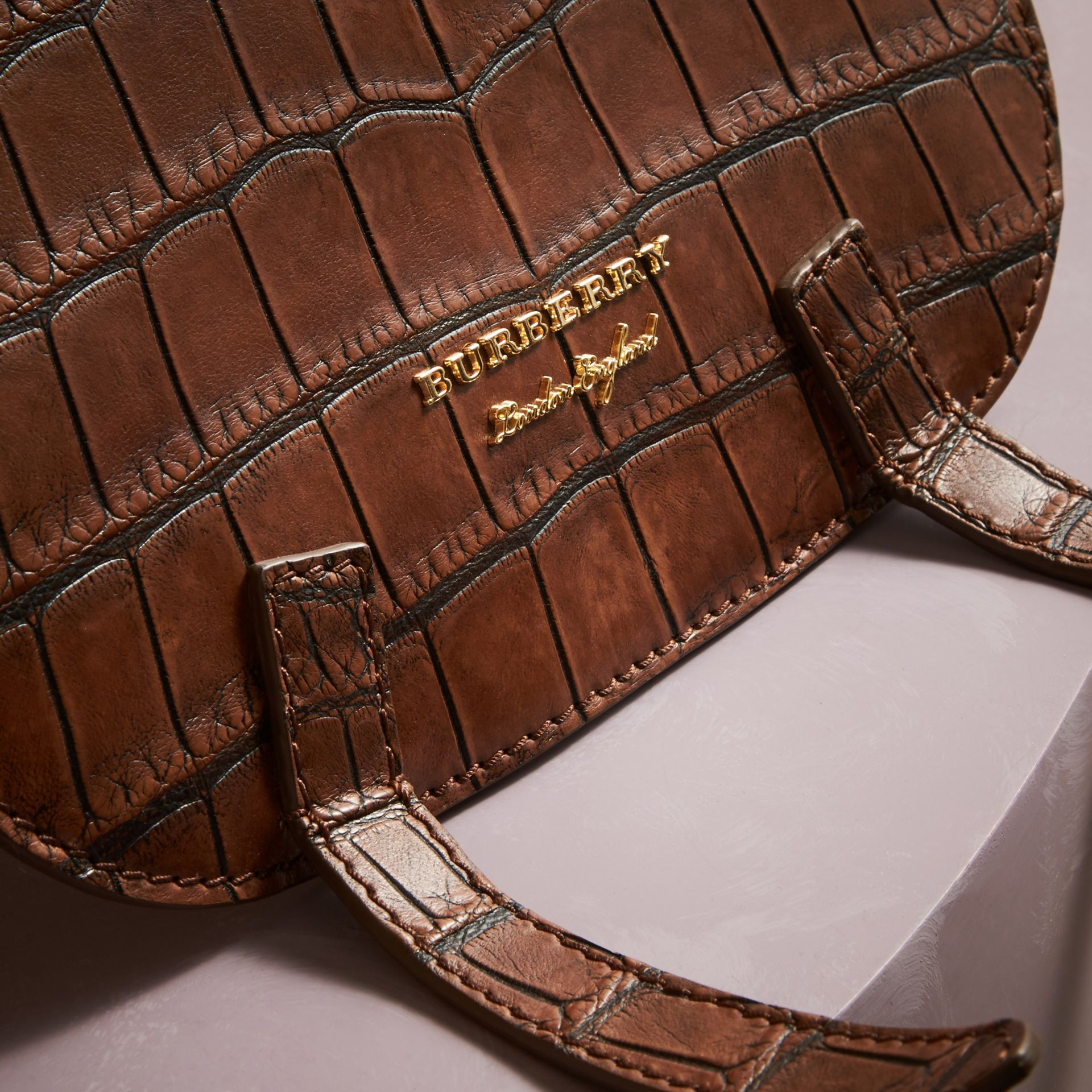 The Bridle Bag in Alligator and Haymarket Check in Russet Brown - Women | Burberry Hong Kong - gallery image 2