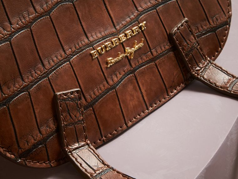 The Bridle Bag in Alligator and Haymarket Check in Russet Brown - Women | Burberry - cell image 1