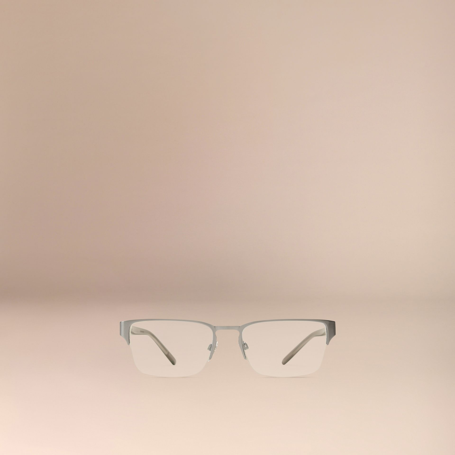 Brushed silver Check Detail Rectangular Optical Frames Brushed Silver - gallery image 3