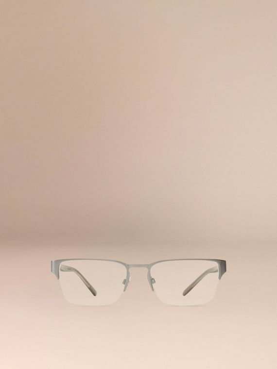 Brushed silver Check Detail Rectangular Optical Frames Brushed Silver - cell image 2