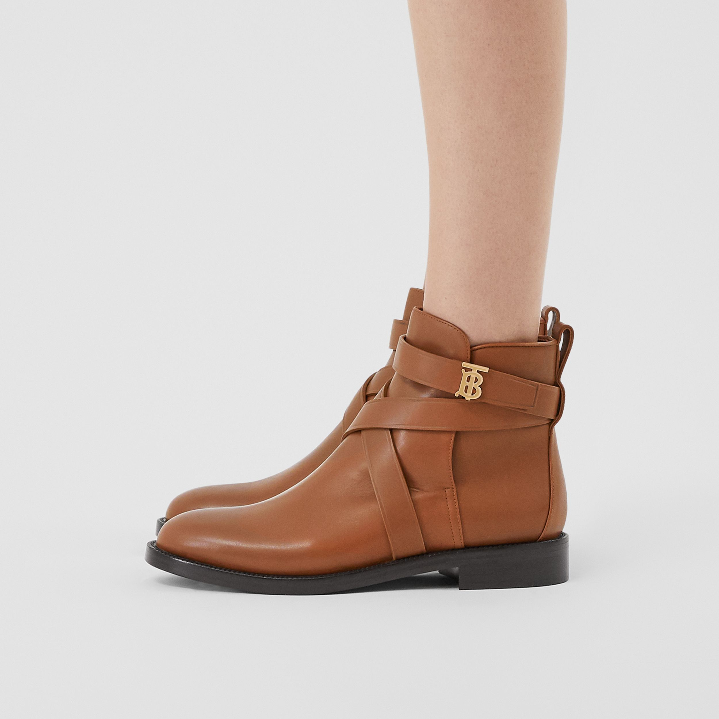 Monogram Motif Leather Ankle Boots in Tan - Women | Burberry Canada - 3