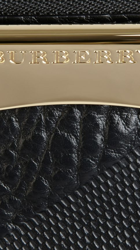 Black Small Embossed Check Leather Clutch Bag Black - Image 2