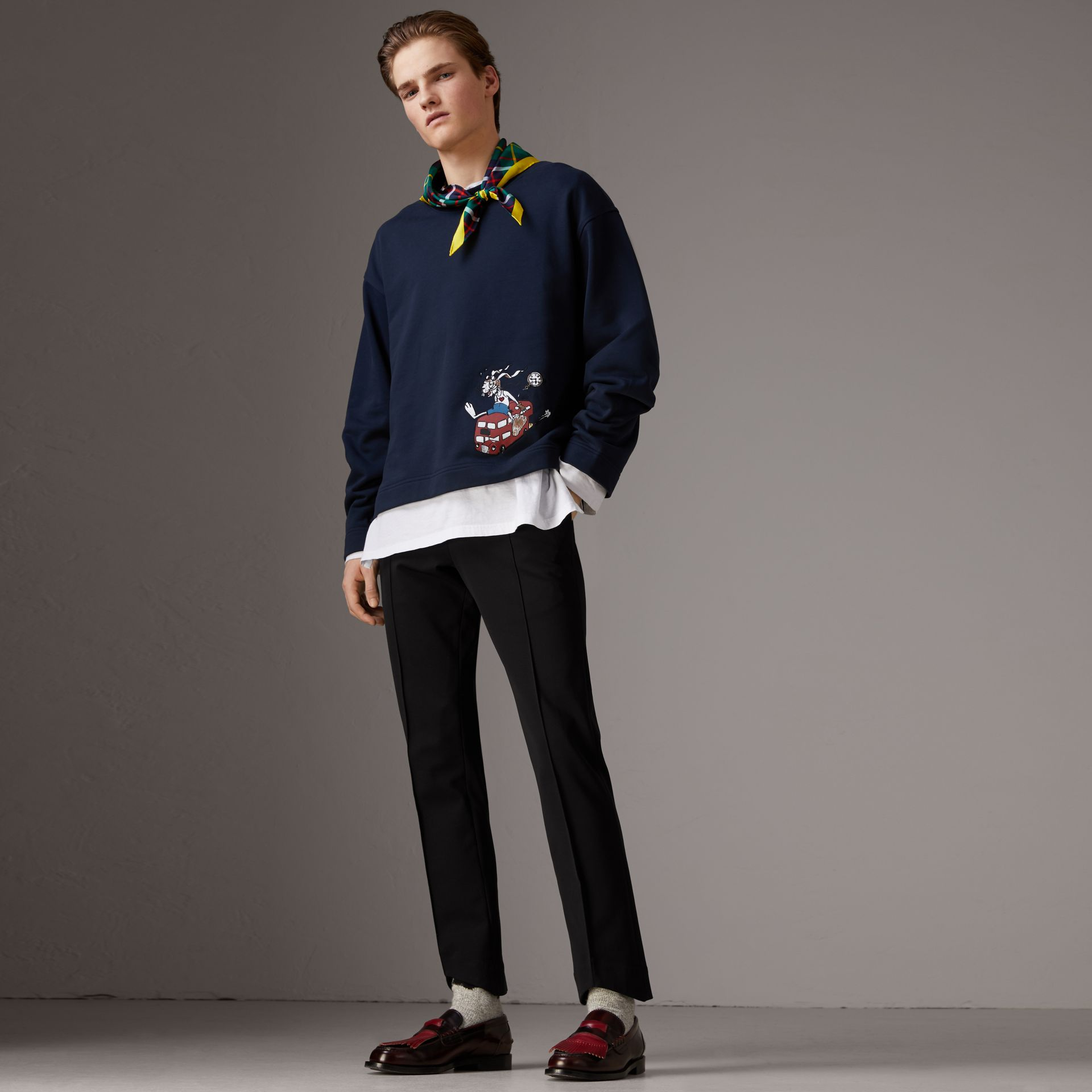 Sketch Print Cotton Jersey Sweatshirt in Navy - Men | Burberry - gallery image 1
