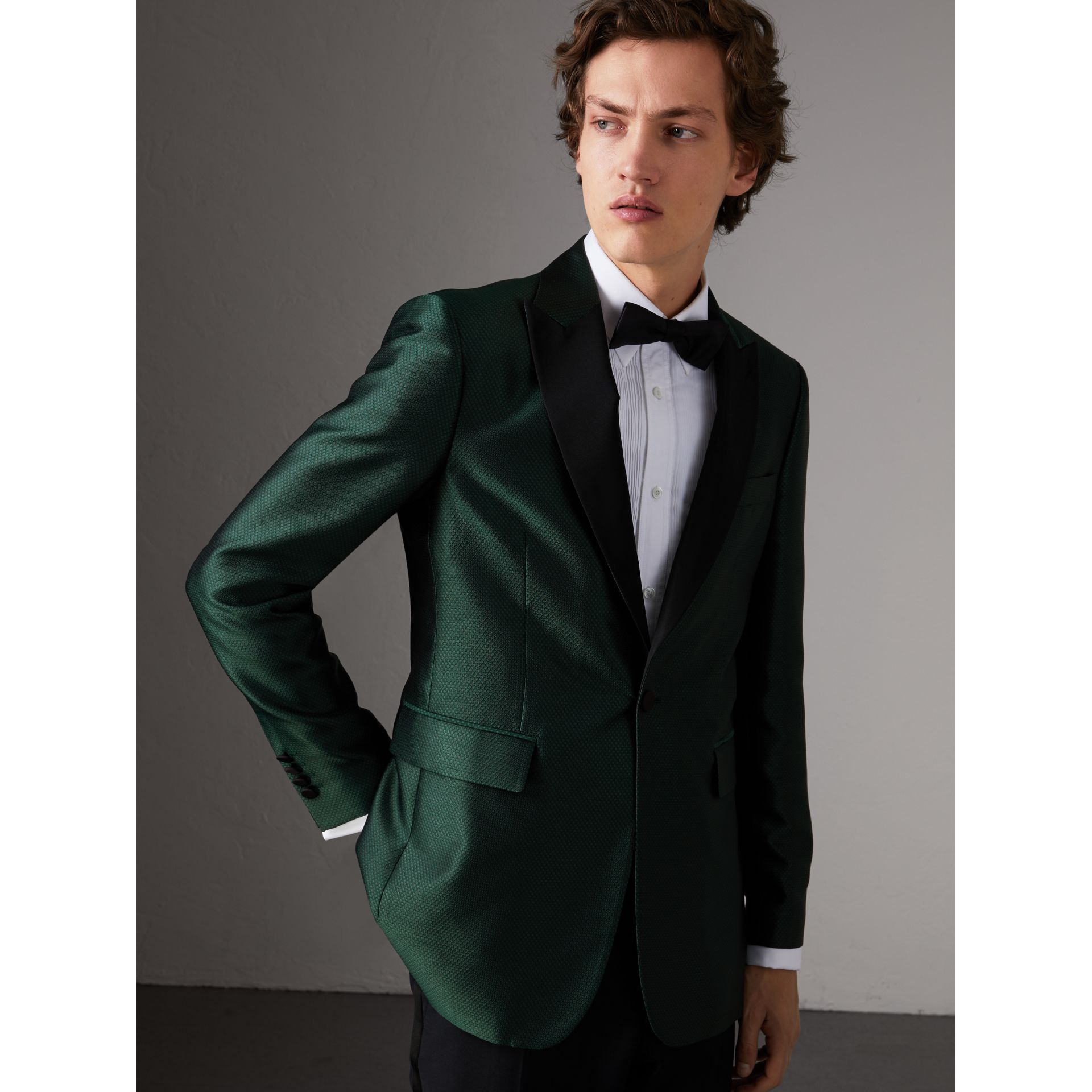 Soho Fit Jacquard Evening Jacket in Forest Green - Men | Burberry United States - gallery image 7