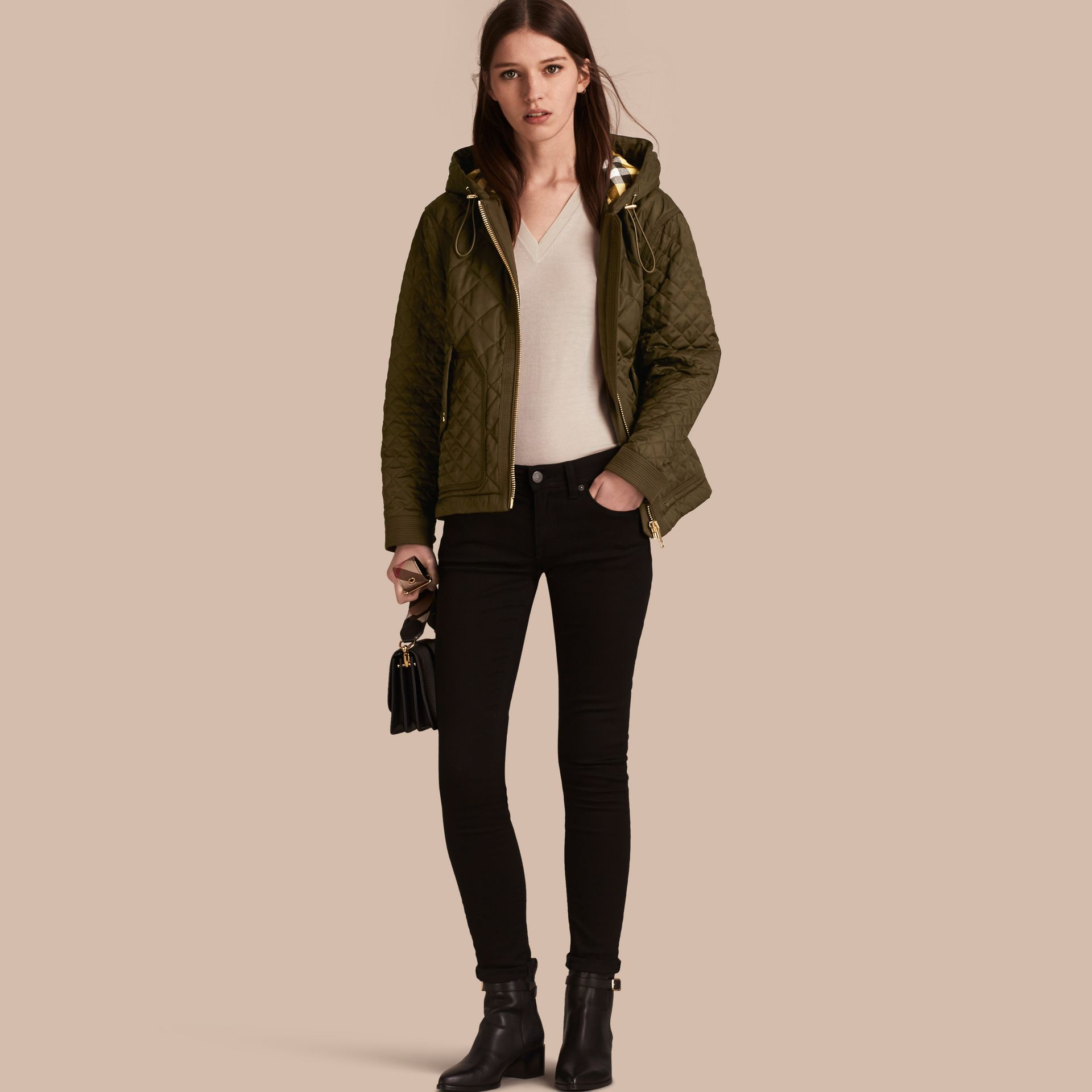 Diamond Quilted Hooded Jacket with Check Lining Dark Olive - gallery image 1