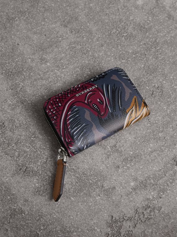 Beasts Print Leather Ziparound Coin Case - Men | Burberry Singapore