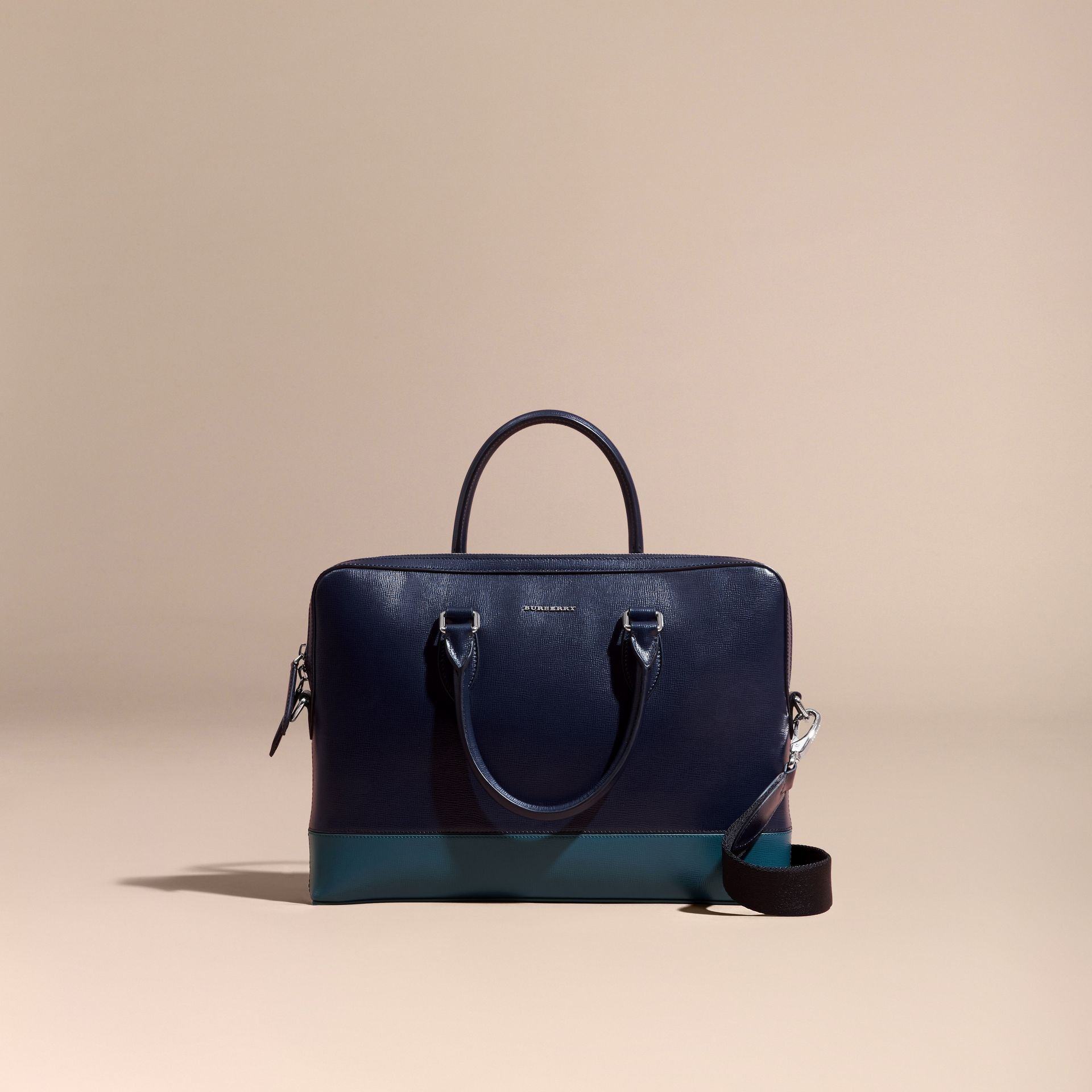 Dark navy/mineral blue The Slim Barrow in Panelled London Leather Dark Navy/mineral Blue - gallery image 8