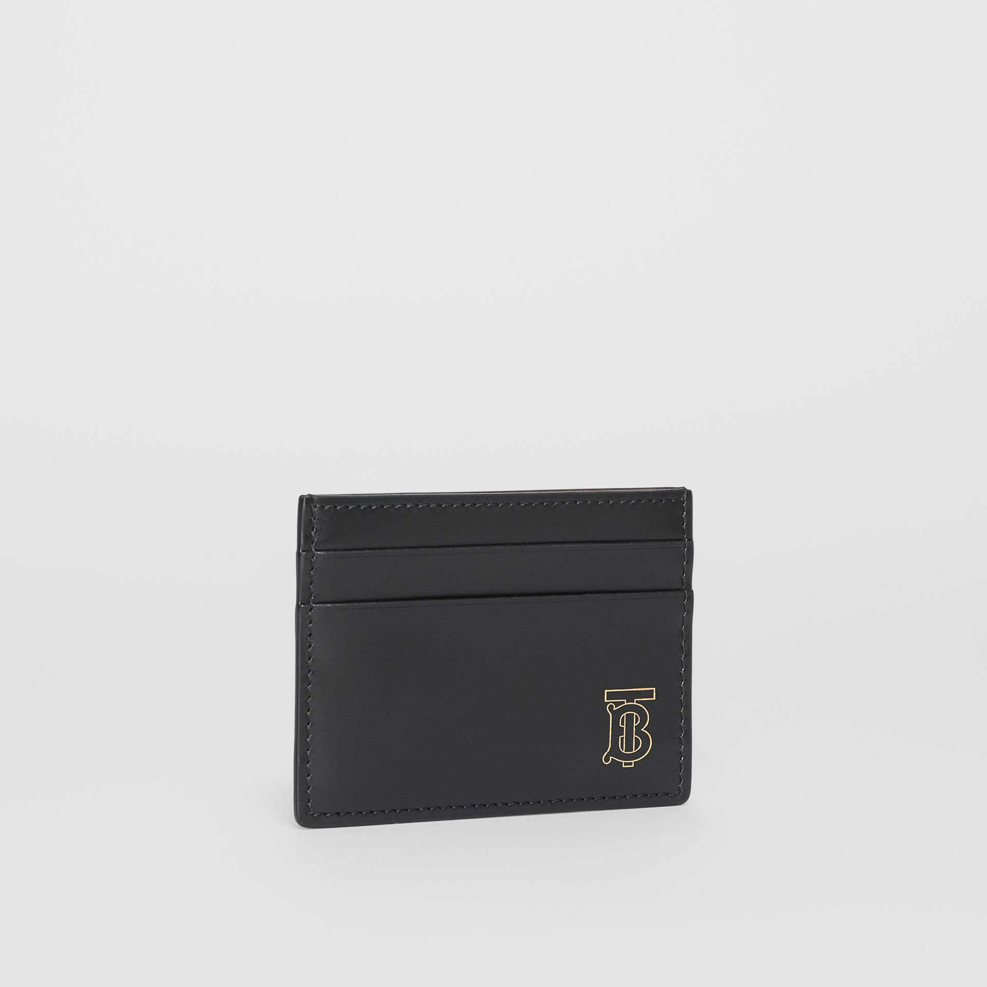 Monogram Motif Leather Card Case in Black | Burberry - gallery image 3
