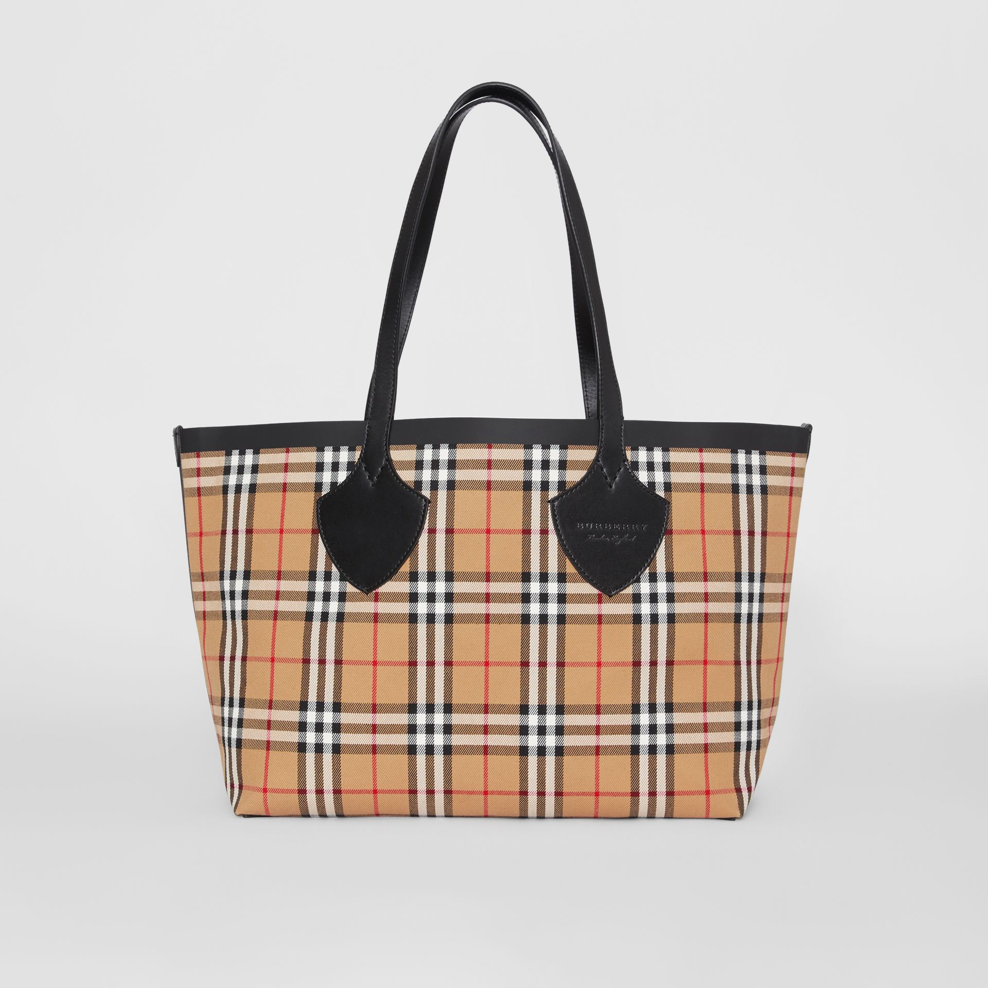 Sac tote The Giant moyen en Vintage check (Jaune Antique/rouge Vif) | Burberry - photo de la galerie 0