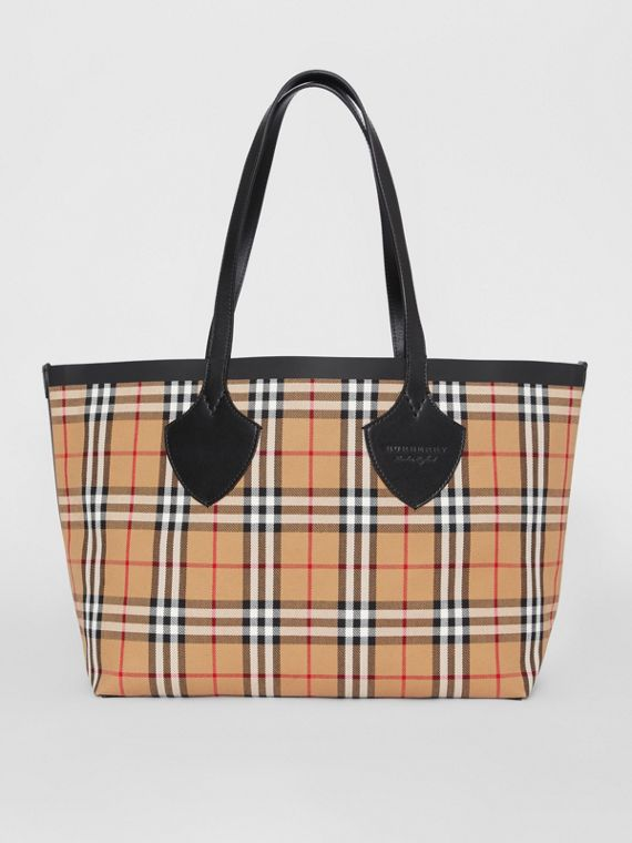 Sac tote The Giant moyen en Vintage check (Jaune Antique/rouge Vif)