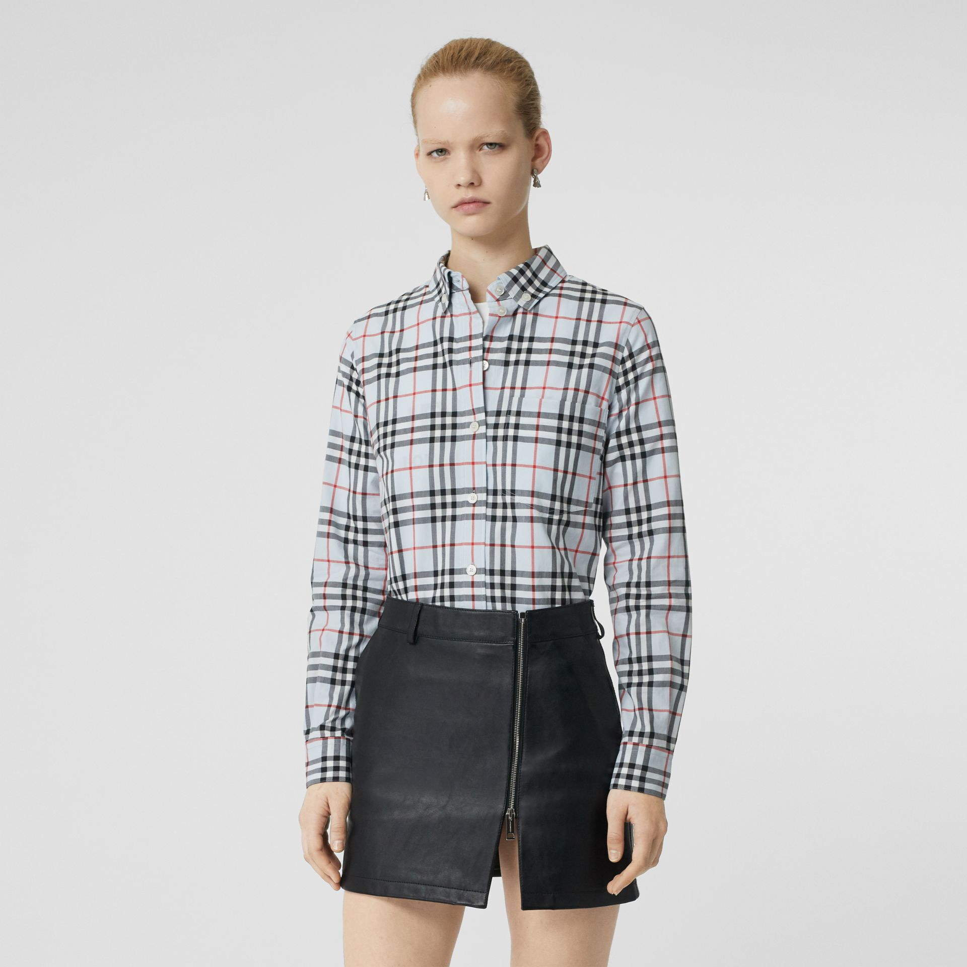 Button-down Collar Vintage Check Cotton Shirt in Pale Blue - Women | Burberry - gallery image 0