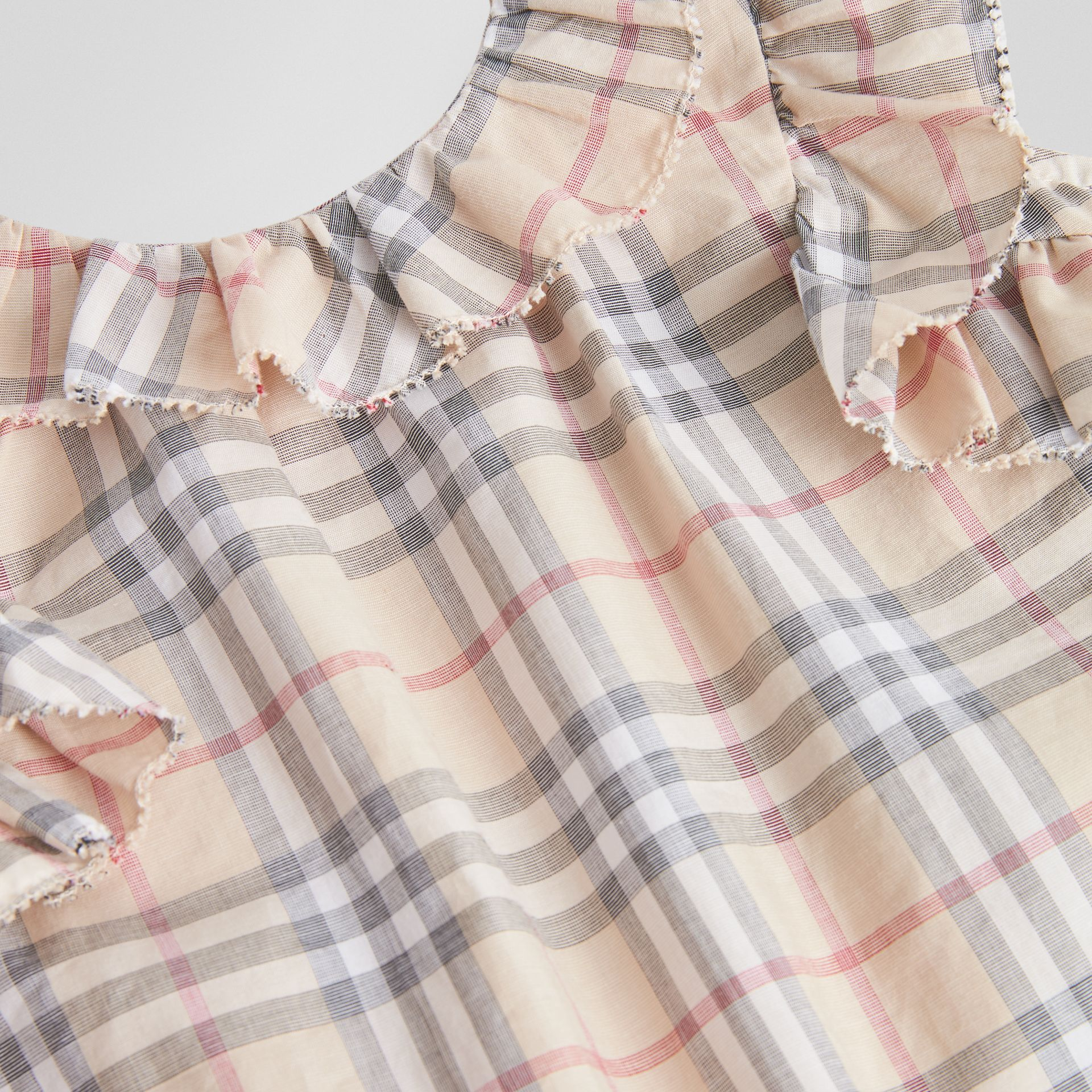 Ruffle Detail Check Cotton Dress with Bloomers in Pale Stone - Children | Burberry Australia - gallery image 1