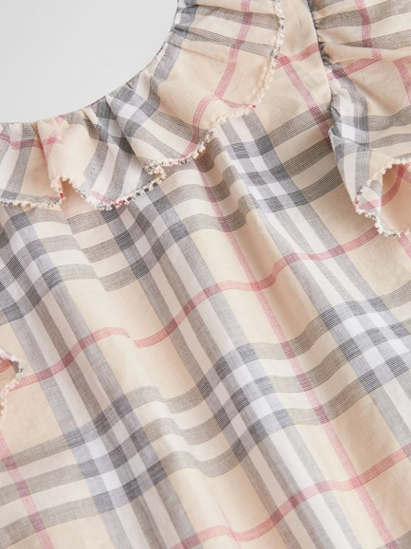 Ruffle Detail Check Cotton Dress with Bloomers in Pale Stone - Children | Burberry Singapore - cell image 1