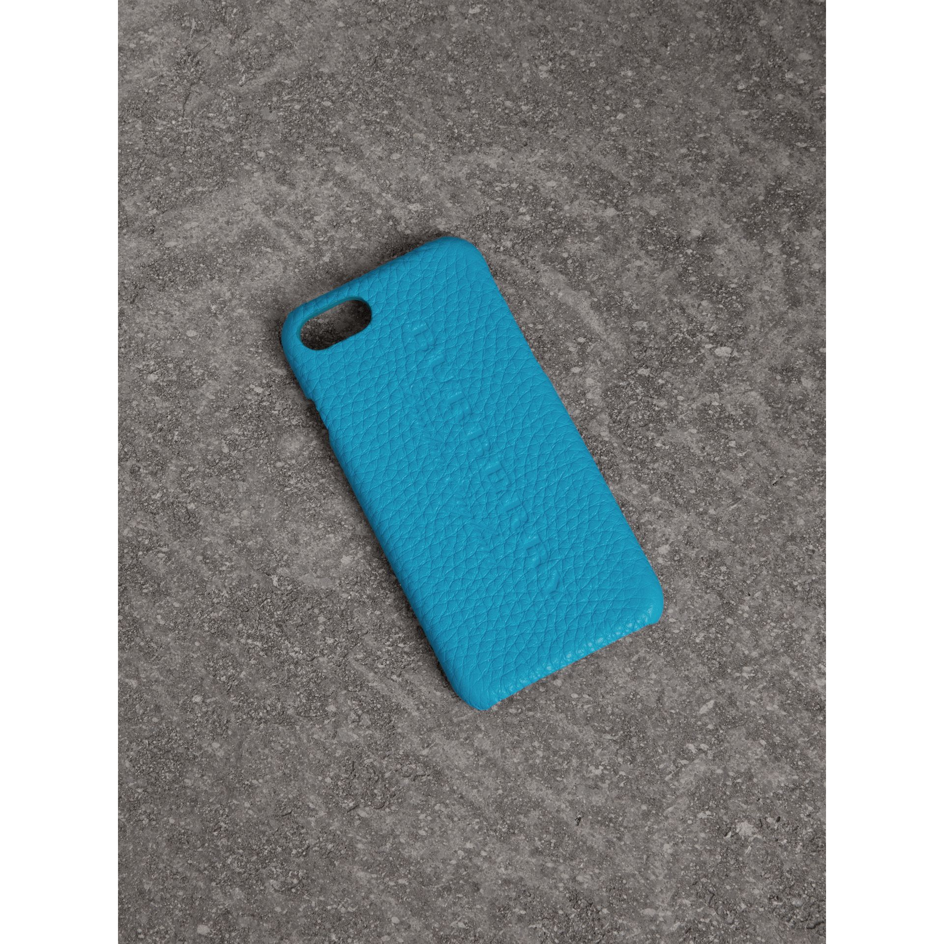Neon Leather iPhone 7 Case in Bright Blue | Burberry - gallery image 0