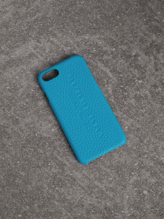 Funda para iPhone 7 en piel flúor (Azul Intenso)