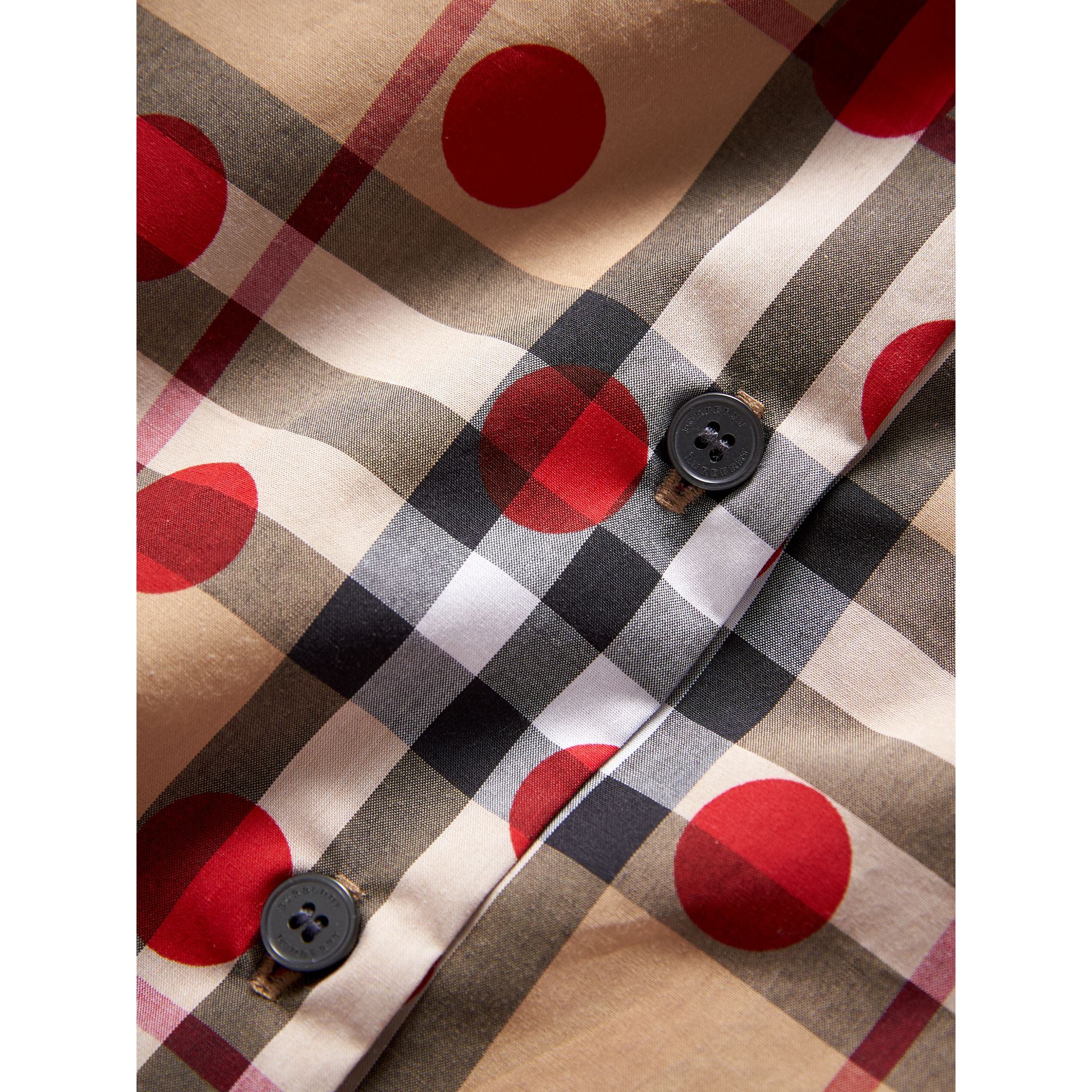 Ruffle Detail Polka-dot Check Cotton Top in Parade Red | Burberry - gallery image 1