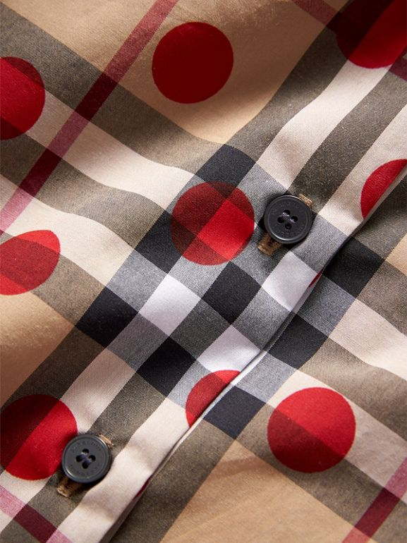 Ruffle Detail Polka-dot Check Cotton Top in Parade Red | Burberry - cell image 1