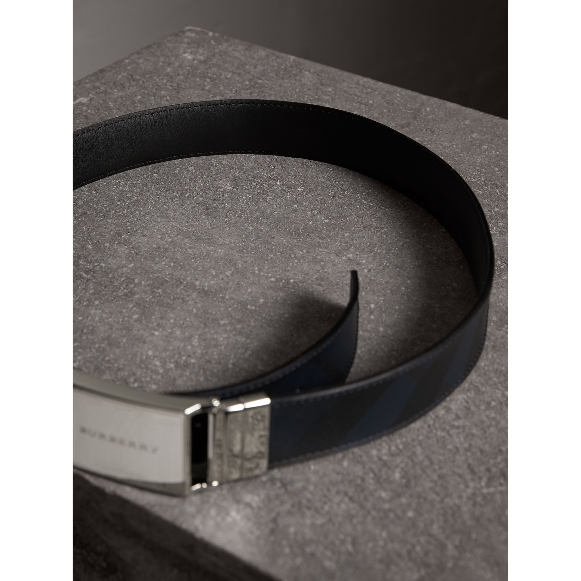 Reversible London Check and Leather Belt in Navy/black - Men | Burberry Australia - gallery image 3