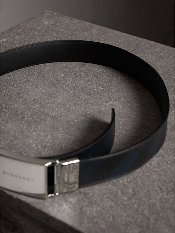Reversible London Check and Leather Belt in Navy/black - Men | Burberry Canada - cell image 2