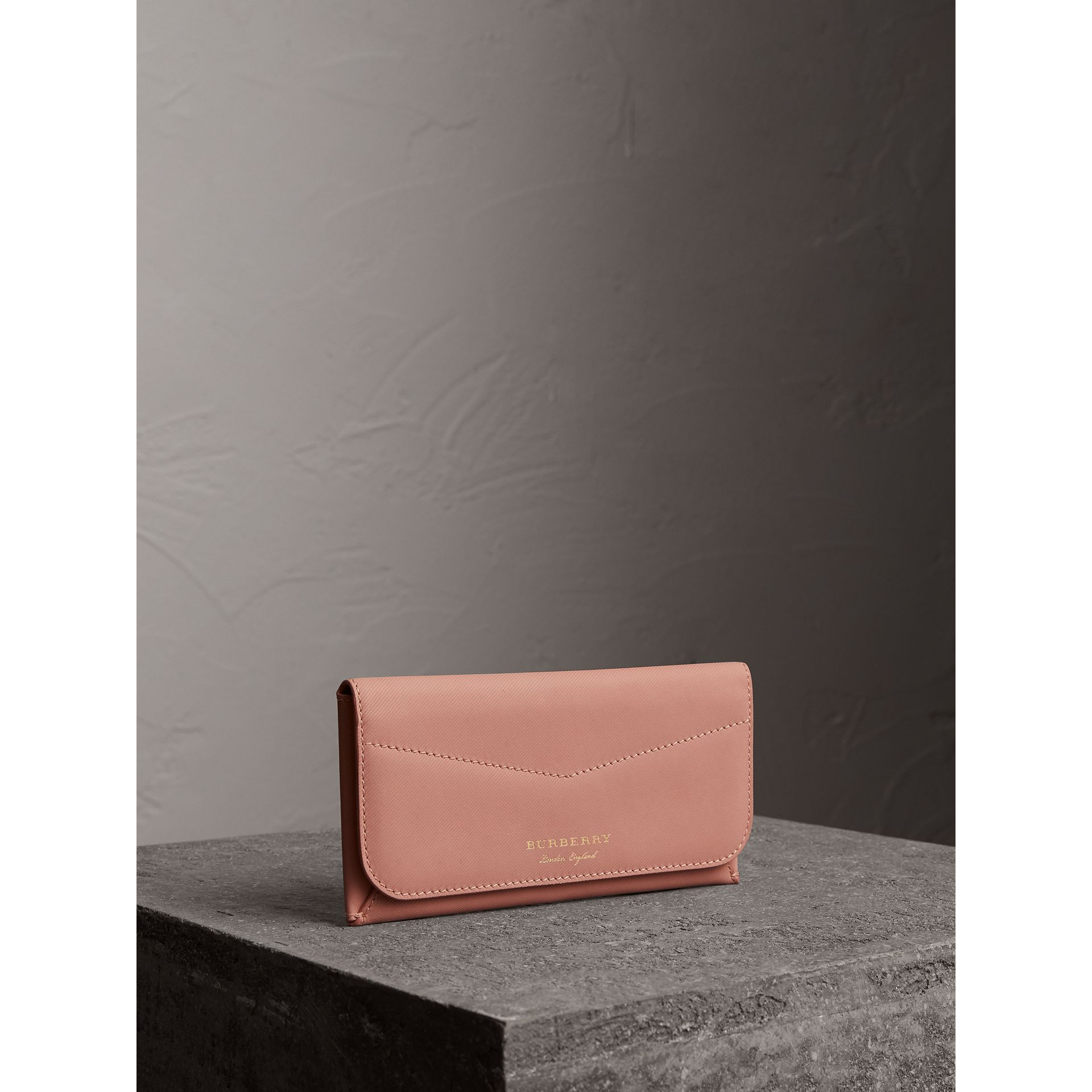 Trench Leather Envelope Wallet in Ash Rose/pale Clementine - Women | Burberry Singapore - gallery image 0
