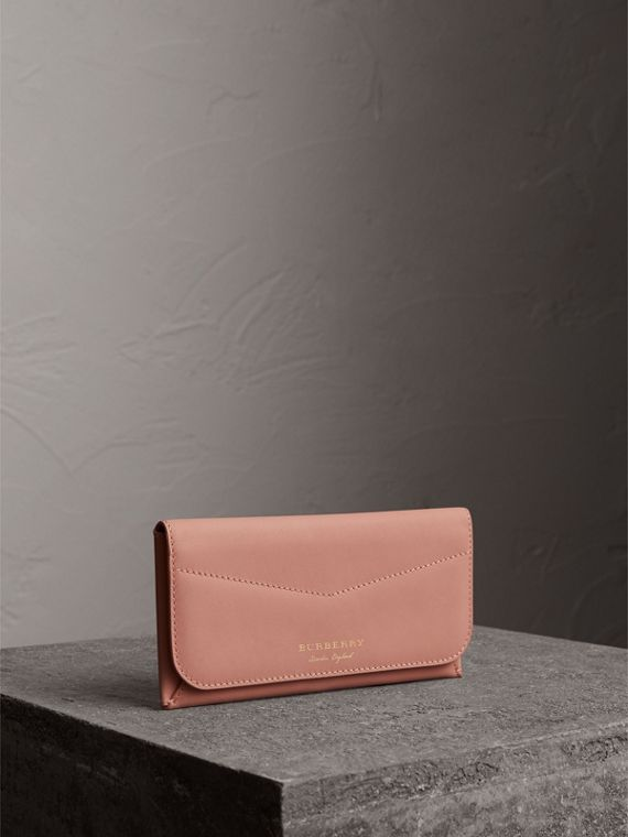 Trench Leather Envelope Wallet in Ash Rose/pale Clementine