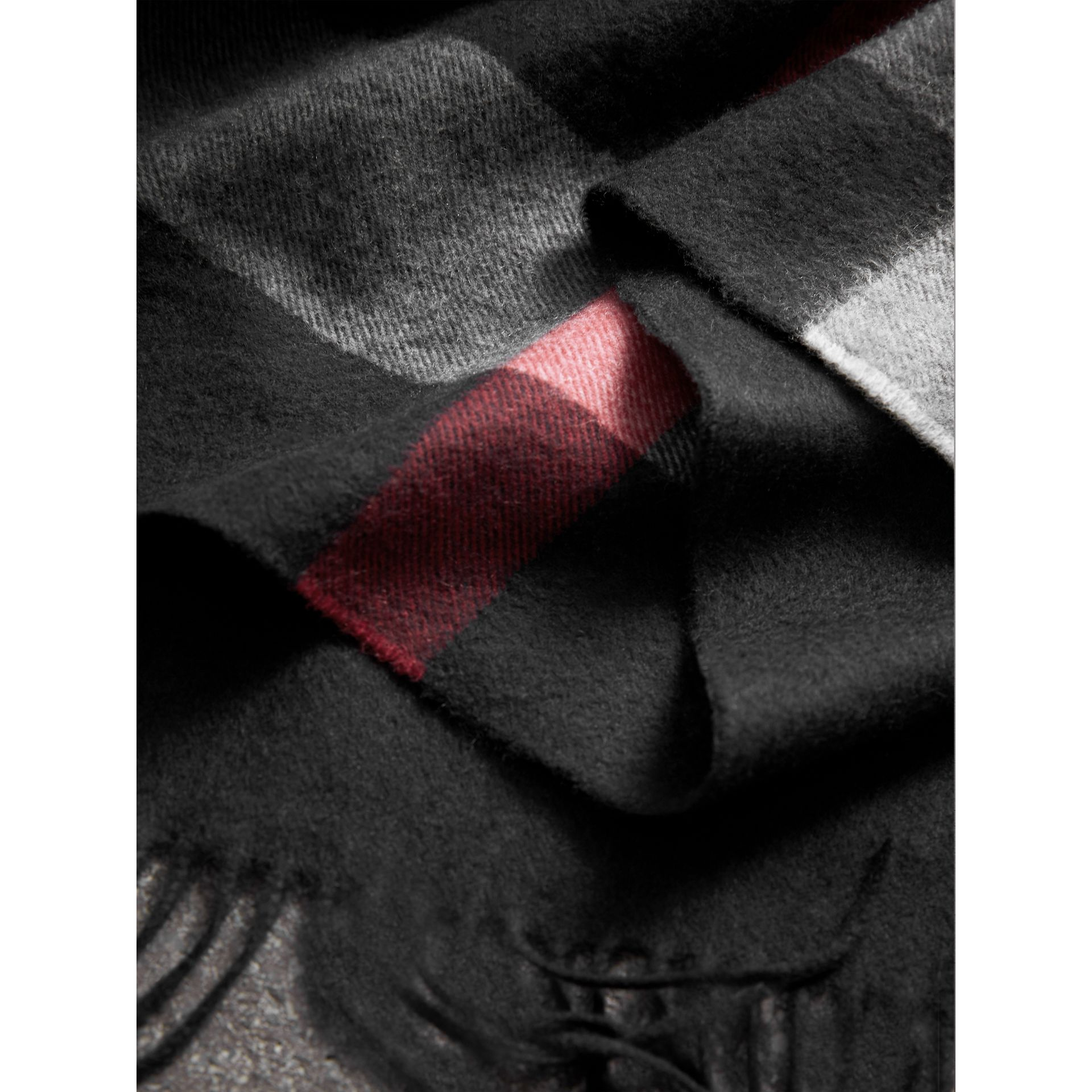 Check Cashmere Wrap in Black | Burberry Singapore - gallery image 1