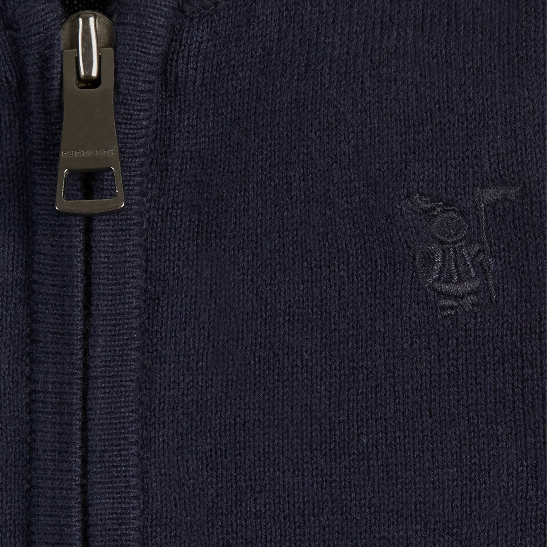 Check Detail Cotton Cardigan in Navy - Boy | Burberry - gallery image 2