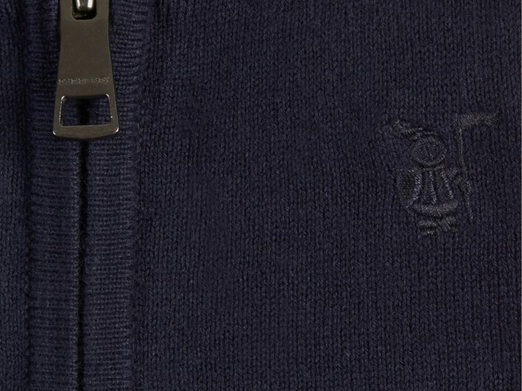 Check Detail Cotton Cardigan in Navy - Boy | Burberry - cell image 1