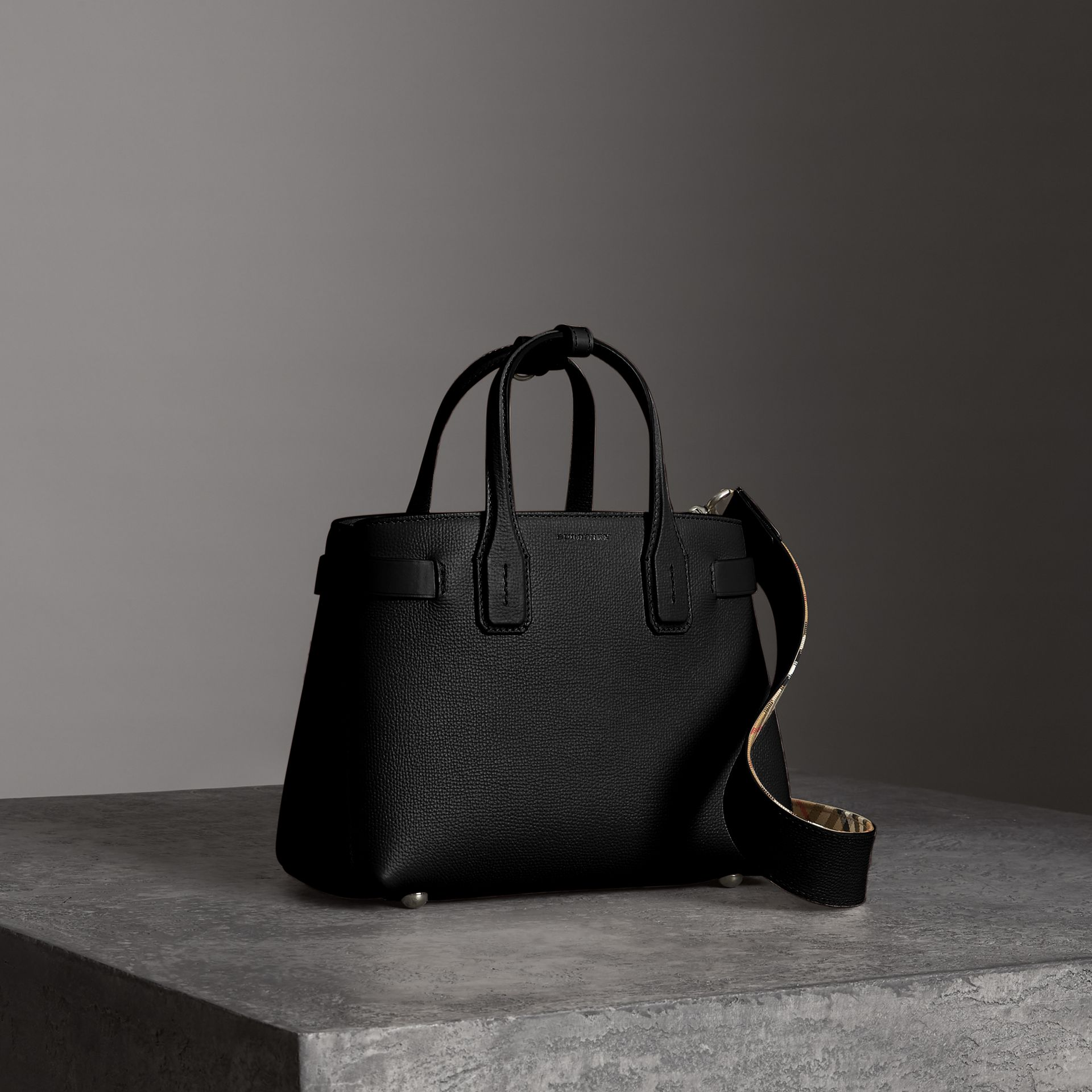 The Small Banner in Leather in Black - Women | Burberry United Kingdom - gallery image 0