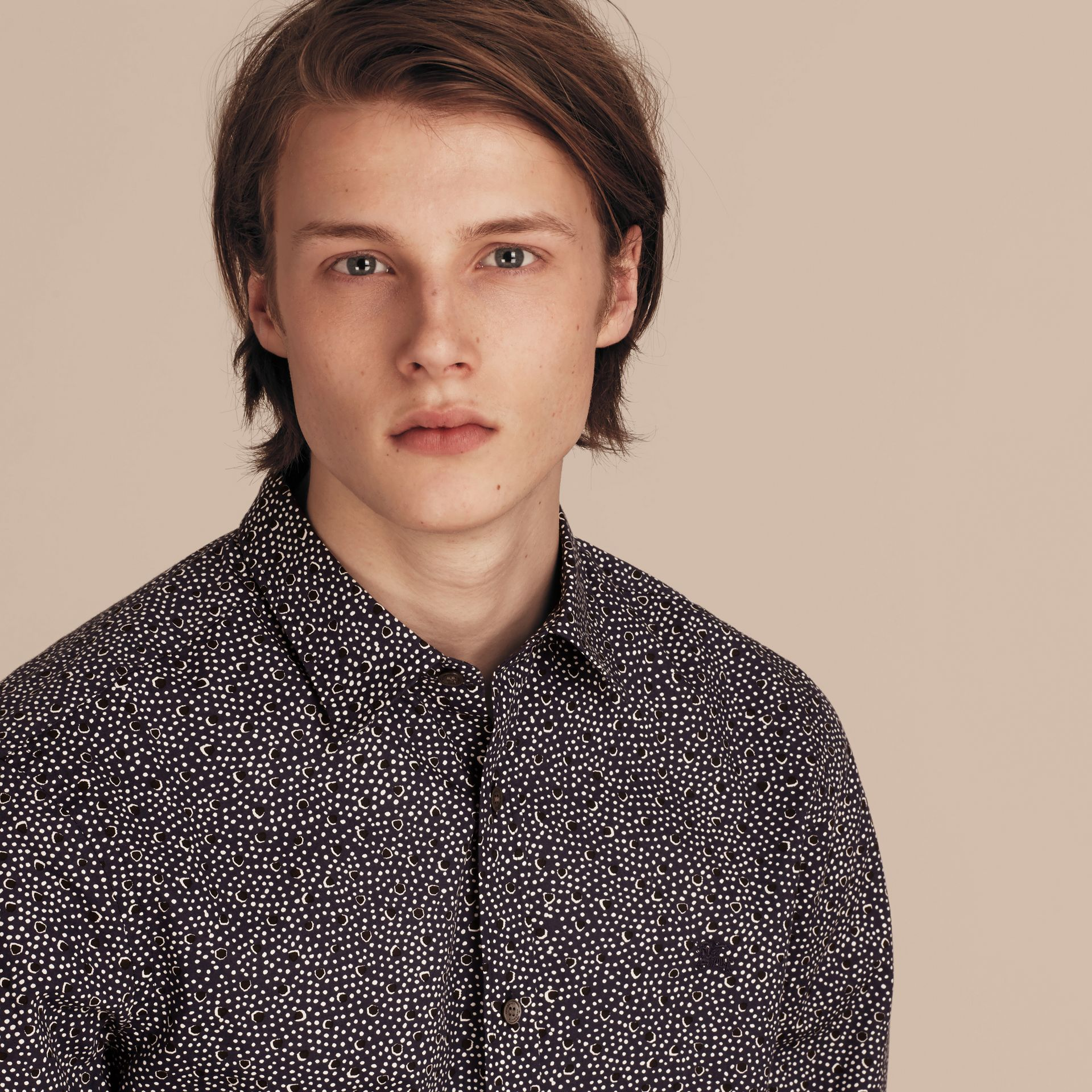 Navy Painterly Spot Print Cotton Shirt Navy - gallery image 4