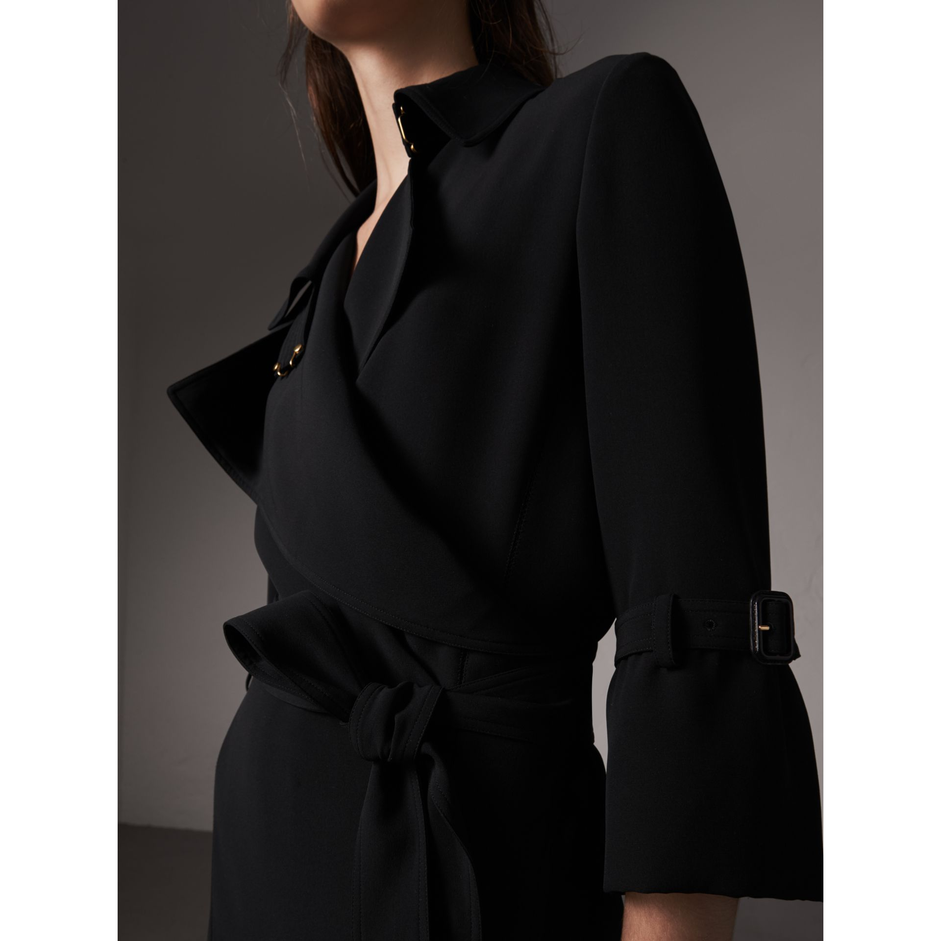 Silk Georgette Trench Wrap Dress in Black - Women | Burberry - gallery image 2