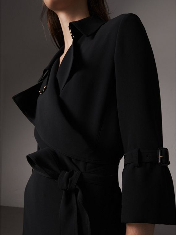Silk Georgette Trench Wrap Dress in Black