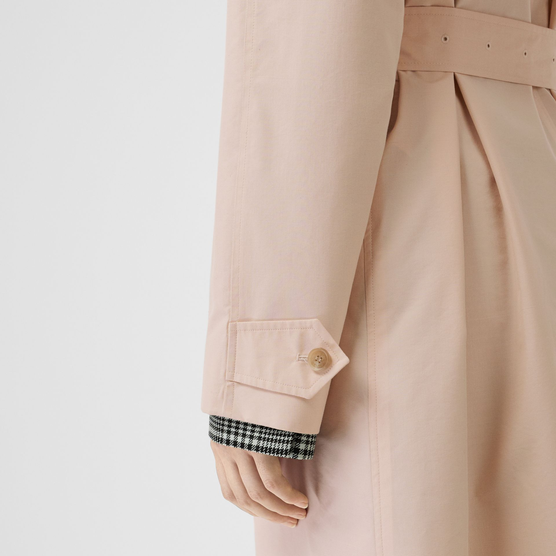Belted Check Cotton Silk Car Coat in Chalk Pink - Women | Burberry - gallery image 5