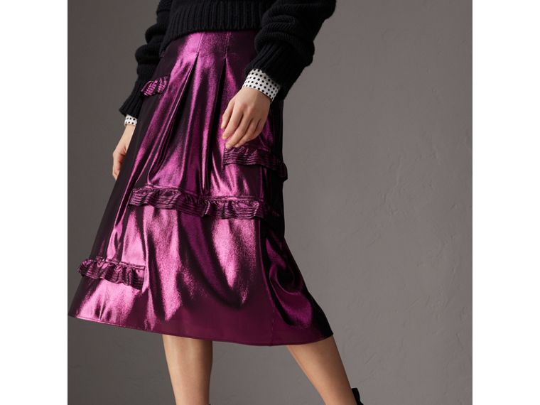 Ruffle Detail Lamé Skirt in Bright Fuchsia - Women | Burberry - cell image 4