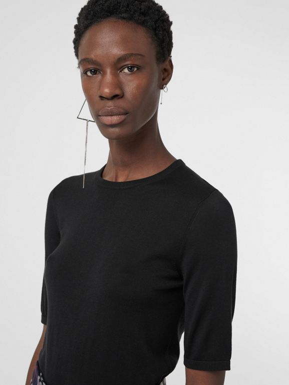 Short-sleeve Silk Cashmere Sweater in Black - Women | Burberry Singapore - cell image 1