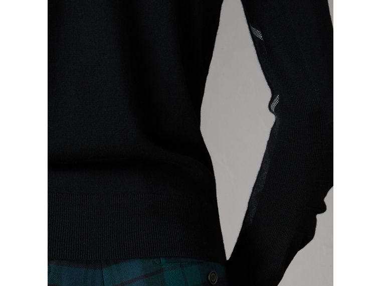 Check Detail Merino Wool V-neck Sweater in Black - Men | Burberry - cell image 1