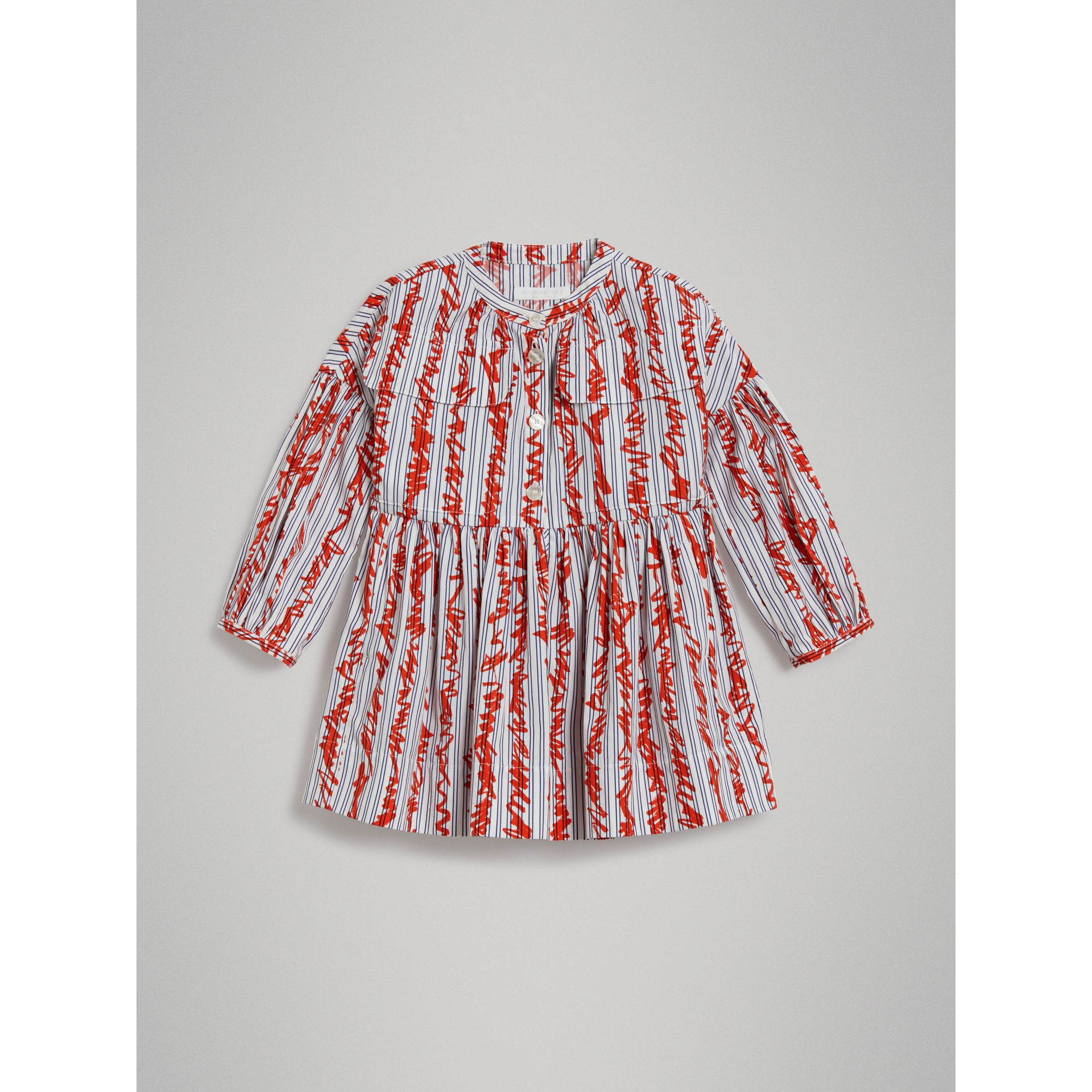 Scribble Stripe Cotton Dress in Bright Red - Girl | Burberry - gallery image 0