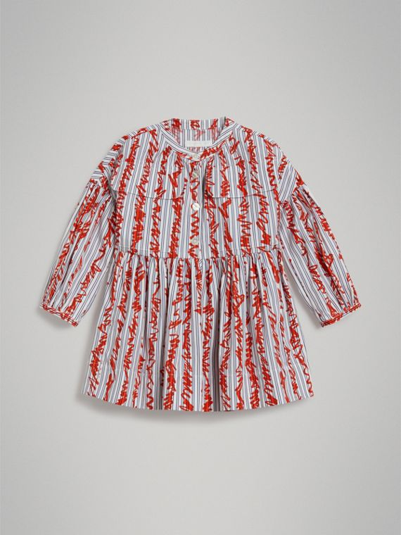 Scribble Stripe Cotton Dress in Bright Red