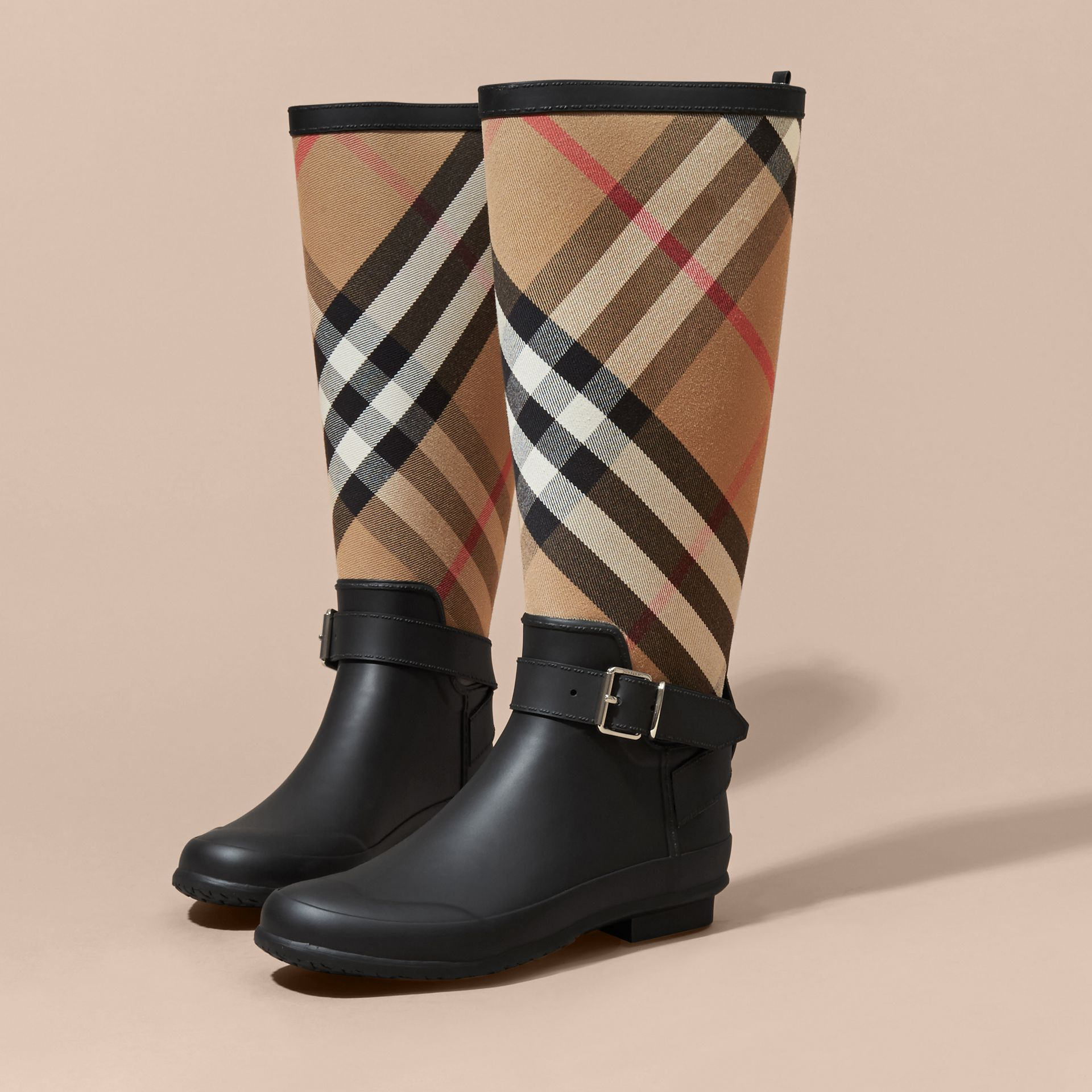 Belt Detail Check and Rubber Rain Boots - Women | Burberry - gallery image 3