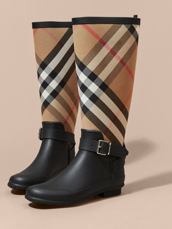 Belt Detail Check and Rubber Rain Boots - Women | Burberry - cell image 2