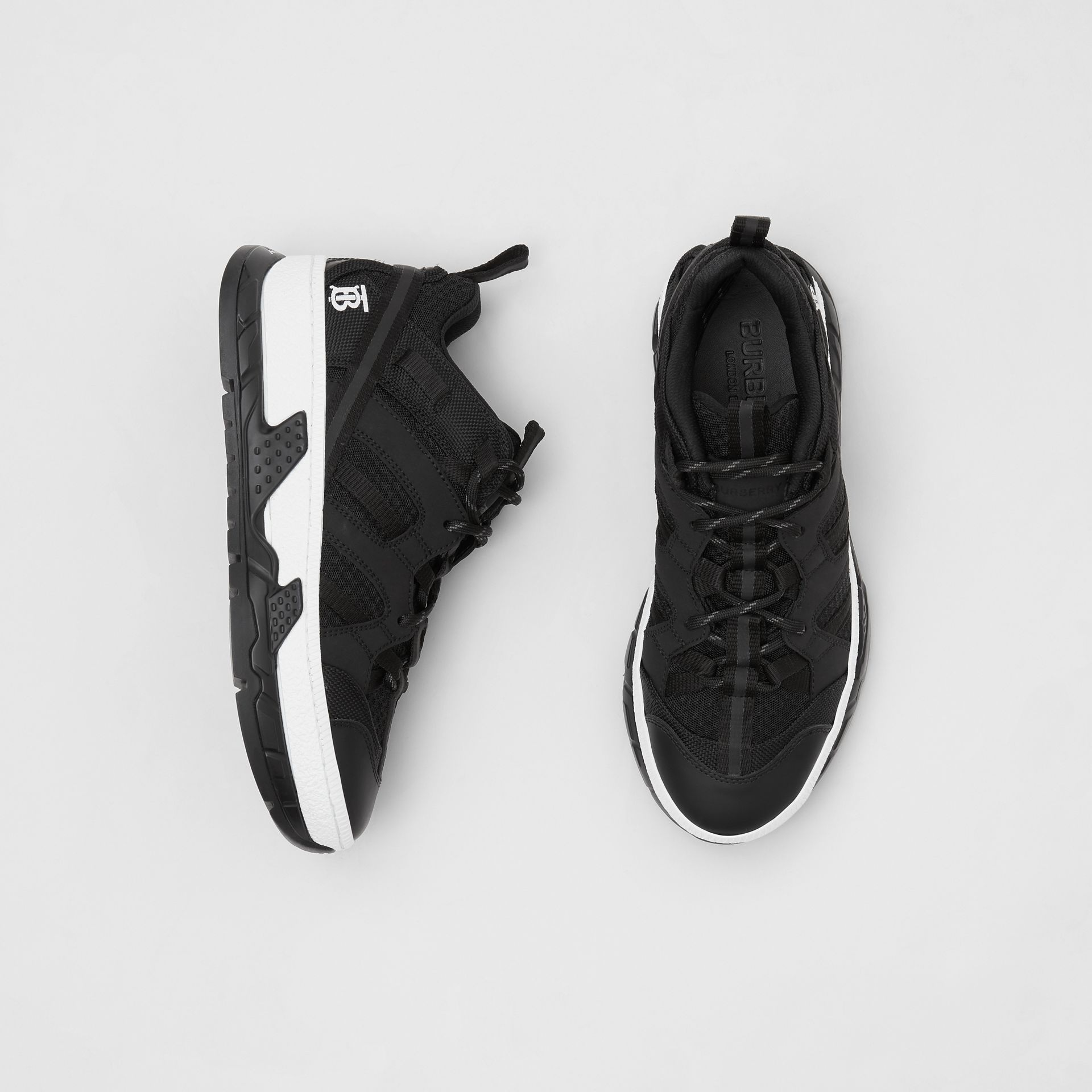 Mesh and Nubuck Union Sneakers in Black - Women | Burberry Australia - gallery image 0
