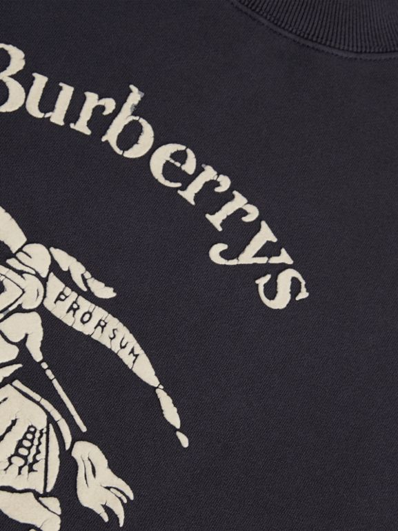 Archive Logo Print Cotton Sweatshirt in Light Navy | Burberry - cell image 1